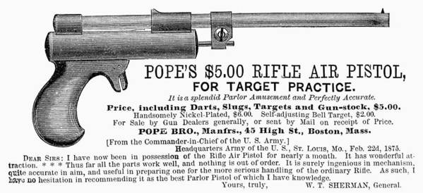 1875 Art Print featuring the photograph Advertisement: Air Pistol by Granger