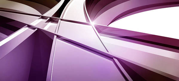 Horizontal Art Print featuring the digital art Intersecting Three-dimensional Lines In Purple by Ralf Hiemisch