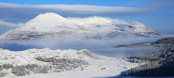 Cloud Art Print featuring the photograph Snow Covered Landscape In Winter Near by Peter Zoeller