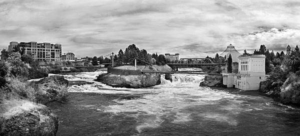 B&w Art Print featuring the photograph Spokane Falls From Lincoln Street Bridge In B And W by Lee Santa