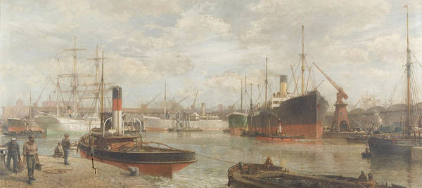 Harbor Art Print featuring the painting A Glimpse In 1920 Of The Royal Edward Dock, Avonmouth by Arthur Wilde Parsons