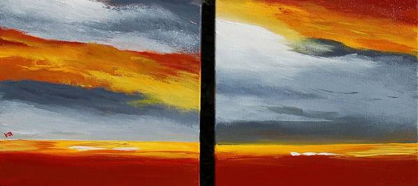 Abstract Art Print featuring the painting Abstract Landscape 17 by Veronique Radelet