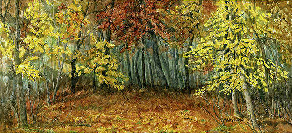 Autumn Art Print featuring the painting Autumn Hollow by Mary Tuomi