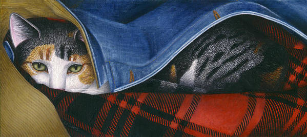 Calico Tabby Cat Art Print featuring the painting Cat In Denim Jacket by Carol Wilson