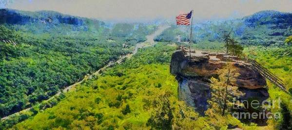 Chimney Rock North Carolina Art Print featuring the painting Chimney Rock Nc by Elizabeth Coats