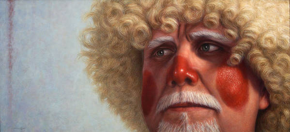 Clown Art Print featuring the painting Concerned by James W Johnson