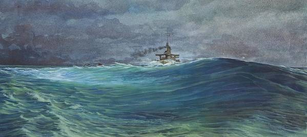 Seascape Art Print featuring the painting Great White Fleet In A Squall by Stephen Bluto