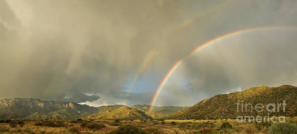 Sandia Art Print featuring the photograph Land Of Enchantment - Rainbow Over Sandia Mountains by Matt Tilghman