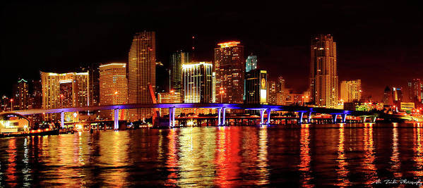Miami Art Print featuring the photograph Miami At Night -2 by Ali Zaidi