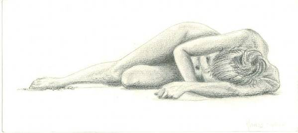 Nude Art Print featuring the drawing Nude On The Beach by Marina Owens