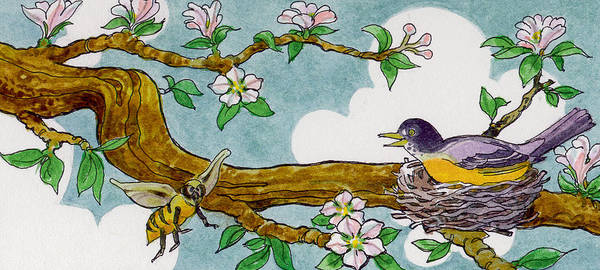 Birds Art Print featuring the painting Robin Nest by Lash Larue
