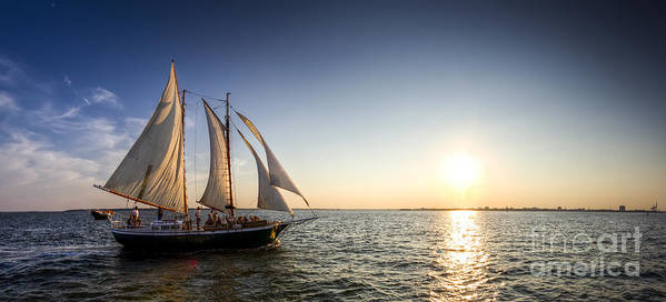 Schooner Welcome Sunset Sail Art Print featuring the photograph Schooner Welcome Sunset Charleston Sc by Dustin K Ryan