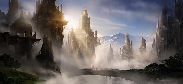 Game Art Print featuring the digital art Skyrim Fantasy Ruins by Alex Ruiz