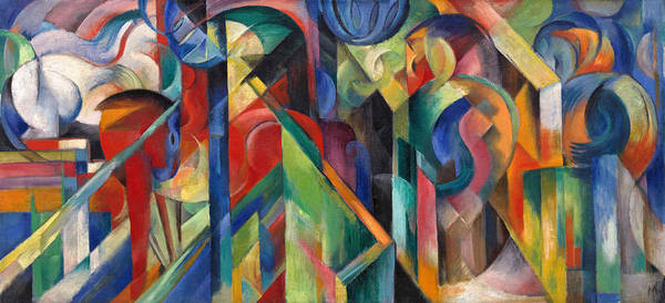 Stables Art Print featuring the painting Stables By Franz Marc Bright Painting Of Horses In A Stable by Franz Marc