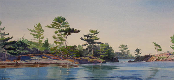 Rocks Art Print featuring the painting Stoney Lake Morning by Debbie Homewood