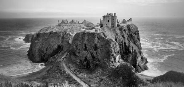 Scotland Art Print featuring the photograph Dunnottar Castle Monochrome by Jason Politte