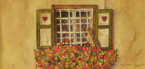 Rural Art Print featuring the painting Farm Window by Mary Ellen Mueller Legault