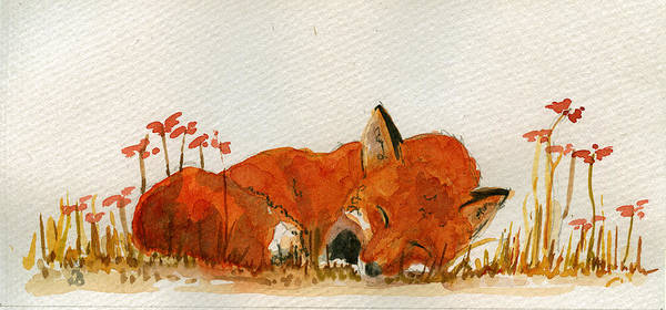 Sleeping Art Print featuring the painting Sleeping Red Fox by Juan Bosco