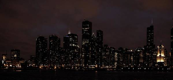 Chicago Art Print featuring the photograph Chicago Skyline At Night by Ken Smith