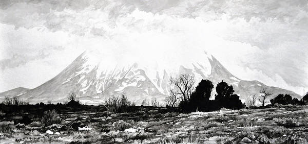 Mountain Art Print featuring the painting East Spanish Peak by Aaron Spong
