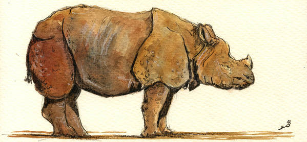 Rhino Art Print featuring the painting Greated One Horned Rhinoceros by Juan Bosco