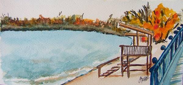 Lake Geneva Art Print featuring the painting Lake Geneva Shoreline by Elaine Duras