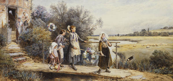 19th Century; Adult; Animal; Artwork; Bound; Bridge; British Artist; Brook; Building; Civil Engineering; Country; Departed; Dog; Drawing; English Art; Event; Exterior; Family; Female; Fine Art; Flora; Plant; Foster; Full-length; Garland; Girls; Group; Heightening; Holding Hands; House; Leaving; Mammal; May Day; Mid 19th Century; Mid Adult; Natural Space; Outdoors; Painting; Pencil; People; Plant; Rural; Sibling; Side; Sister; Stream; Touching; Victorian Pictures; Walk; Water Colour; Women Art Print featuring the painting May Day Garlands by Myles Birket Foster