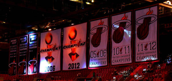 Miami Heat Championship Banners American Airlines Arena Lebron James Dwyane Wade Print featuring the photograph Miami Heat Banners by J Anthony