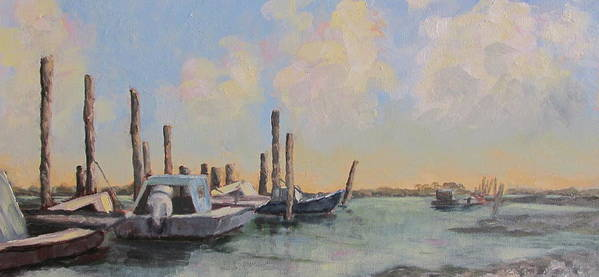 Apalachicola Bay Art Print featuring the painting Oyster Boat Evening by Susan Richardson