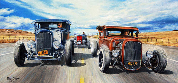 Hot Rod Art Print featuring the painting Riff Raff Race 3 by Ruben Duran