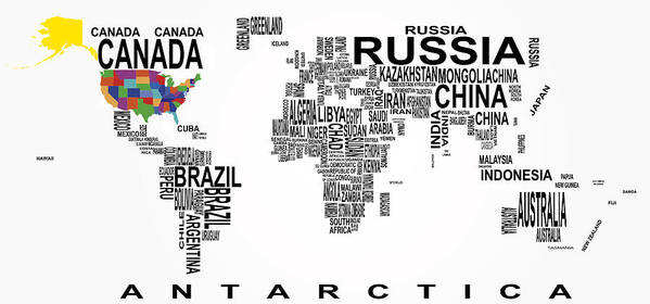 Geography Art Print featuring the digital art United States And The Rest Of The World In Text Map by Daniel Hagerman