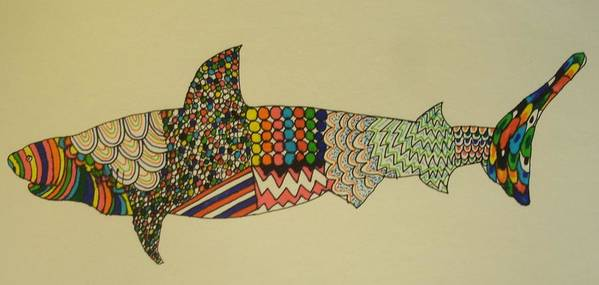 Bull Shark Art Print featuring the drawing Bull Shark by Samantha L