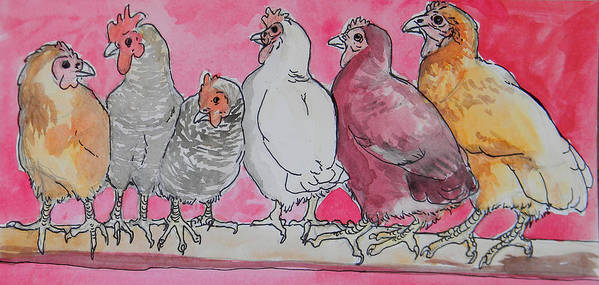 Hens Art Print featuring the painting Chickens by Jenn Cunningham
