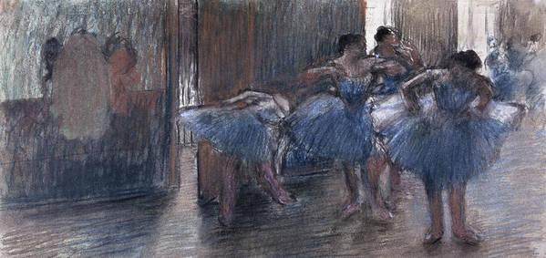Dancers (pastel) By Edgar Degas (1834-1917) Art Print featuring the painting Dancers by Edgar Degas