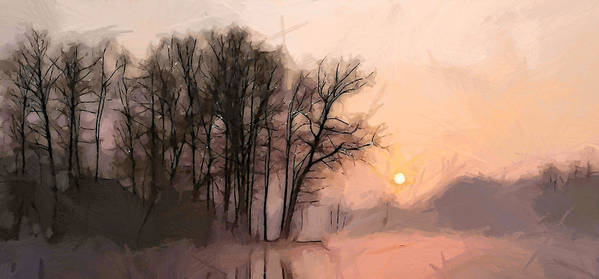 Lake Water Morning Sun Sunrise Early Quiet Silence Tree Trees Nature Landscape Art Print featuring the painting Frosty Morning At The Lake by Steve K