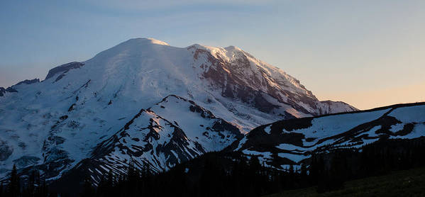 Rainier Art Print featuring the photograph Last Light by Mike Reid