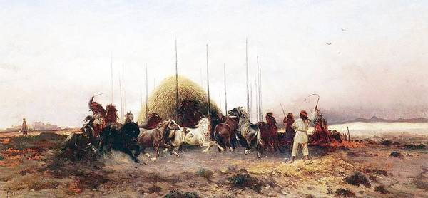 Thomas Moran Art Print featuring the painting Threshing Wheat In New Mexico by Thomas Moran