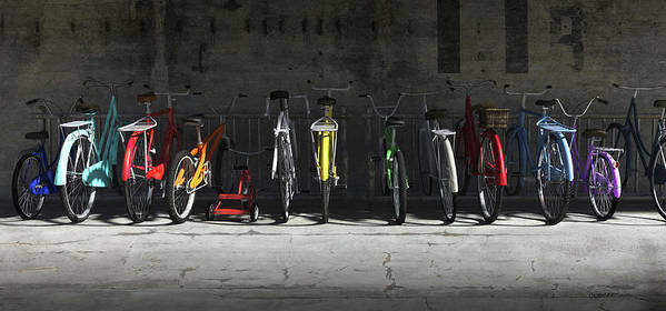 Bicycle Art Print featuring the digital art Bike Rack by Cynthia Decker
