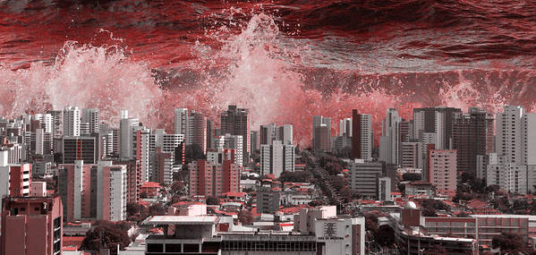 City Art Print featuring the photograph City Under Water by LoungeMode Production