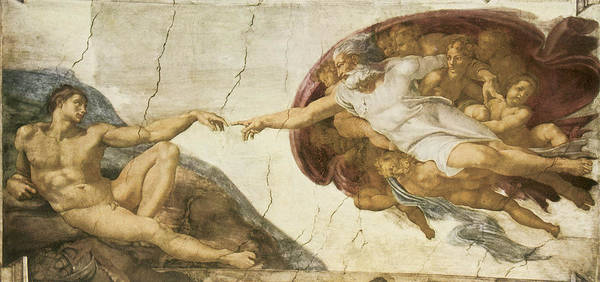 Michelangelo Buonarroti Art Print featuring the painting Creation Of Adam by Michelangelo Buonarroti