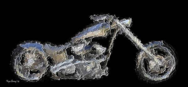 Motorcycles Art Print featuring the painting Custom Chopper II by Wayne Bonney