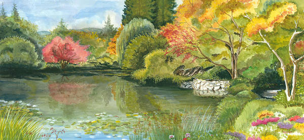 Acrylic Landscape Art Print featuring the painting Fall Reflections Butchart Gardens by Vidyut Singhal