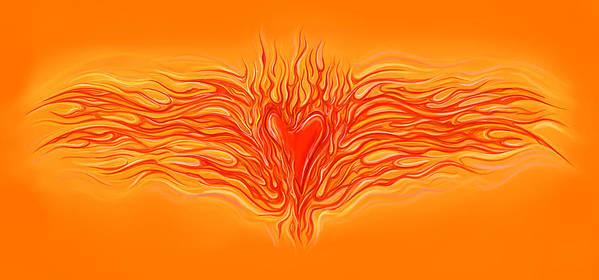 Heart Art Print featuring the digital art Flaming Heart by David Kyte