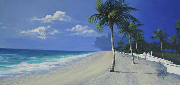 Fort Lauderdale Art Print featuring the painting Fort Lauderdale Beach by Anne Marie Brown