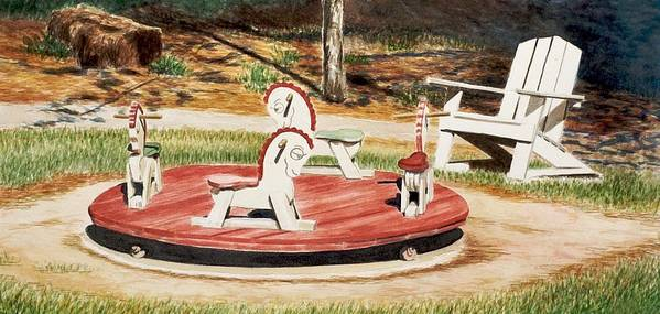 Kids Art Print featuring the painting Merry Go Round At The Cape by Jeff Toole