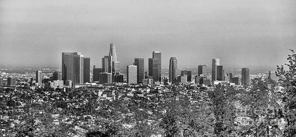 Los Angeles Art Print featuring the photograph Pano Los Angeles City Black White by Chuck Kuhn