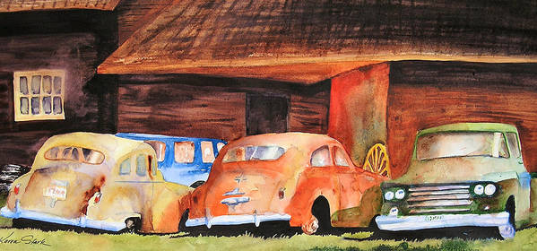Car Art Print featuring the painting Rusting by Karen Stark