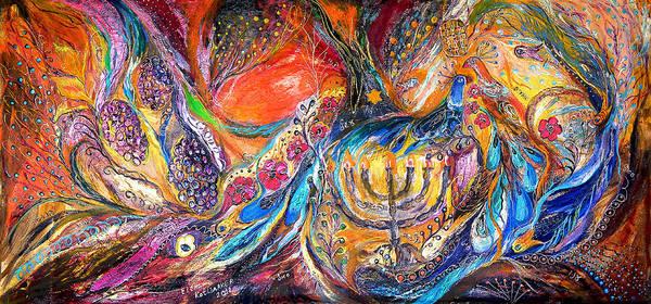 Original Art Print featuring the painting The Light Of Menorah by Elena Kotliarker