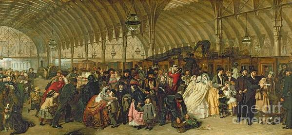 The Railway Station Art Print featuring the painting The Railway Station by William Powell Frith