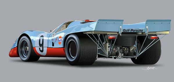Illustration Of A Porsche 917 Rear Art Print featuring the drawing Porsche 917 Rear by Alain Jamar